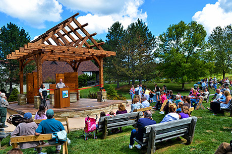 Ribbon-cutting event at the newly renovated Outdoor Classroom at Lake Metroparks Penitentiary Glen Reservation.