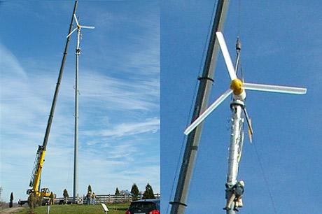Installation of wind turbine at Lake Metroparks Farmpark in Kirtland.